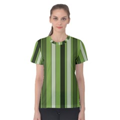 Greenery Stripes Pattern 8000 Vertical Stripe Shades Of Spring Green Color Women s Cotton Tee
