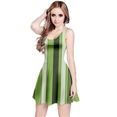 Greenery Stripes Pattern 8000 Vertical Stripe Shades Of Spring Green Color Reversible Sleeveless Dress
