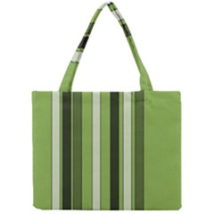 Greenery Stripes Pattern 8000 Vertical Stripe Shades Of Spring Green Color Mini Tote Bag