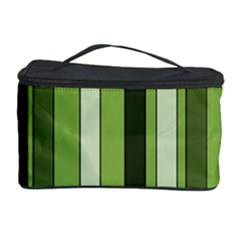 Greenery Stripes Pattern 8000 Vertical Stripe Shades Of Spring Green Color Cosmetic Storage Case