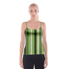 Greenery Stripes Pattern 8000 Vertical Stripe Shades Of Spring Green Color Spaghetti Strap Top