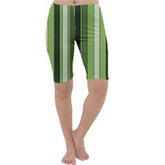 Greenery Stripes Pattern 8000 Vertical Stripe Shades Of Spring Green Color Cropped Leggings