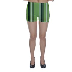 Greenery Stripes Pattern 8000 Vertical Stripe Shades Of Spring Green Color Skinny Shorts