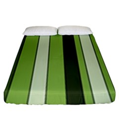 Greenery Stripes Pattern 8000 Vertical Stripe Shades Of Spring Green Color Fitted Sheet (King Size)