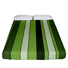 Greenery Stripes Pattern 8000 Vertical Stripe Shades Of Spring Green Color Fitted Sheet (California King Size)
