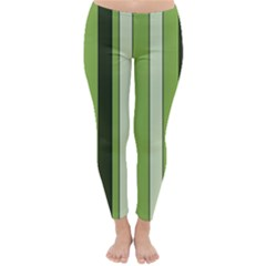 Greenery Stripes Pattern 8000 Vertical Stripe Shades Of Spring Green Color Classic Winter Leggings
