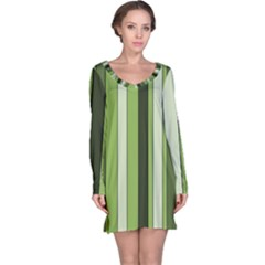 Greenery Stripes Pattern 8000 Vertical Stripe Shades Of Spring Green Color Long Sleeve Nightdress