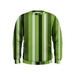 Greenery Stripes Pattern 8000 Vertical Stripe Shades Of Spring Green Color Kids  Sweatshirt