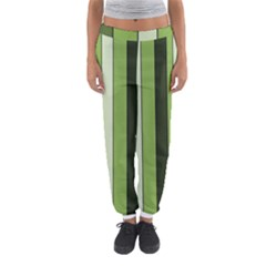 Greenery Stripes Pattern 8000 Vertical Stripe Shades Of Spring Green Color Women s Jogger Sweatpants