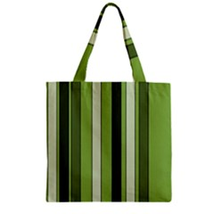 Greenery Stripes Pattern 8000 Vertical Stripe Shades Of Spring Green Color Zipper Grocery Tote Bag