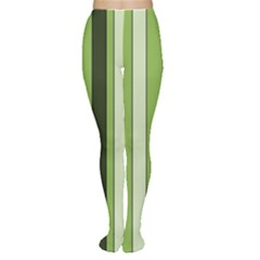 Greenery Stripes Pattern 8000 Vertical Stripe Shades Of Spring Green Color Women s Tights