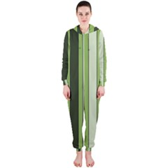 Greenery Stripes Pattern 8000 Vertical Stripe Shades Of Spring Green Color Hooded Jumpsuit (Ladies)
