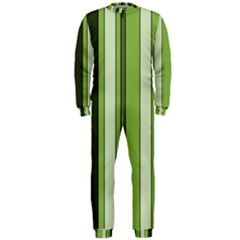 Greenery Stripes Pattern 8000 Vertical Stripe Shades Of Spring Green Color OnePiece Jumpsuit (Men)