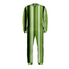 Greenery Stripes Pattern 8000 Vertical Stripe Shades Of Spring Green Color OnePiece Jumpsuit (Kids)