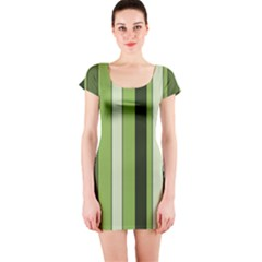 Greenery Stripes Pattern 8000 Vertical Stripe Shades Of Spring Green Color Short Sleeve Bodycon Dress