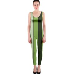 Greenery Stripes Pattern 8000 Vertical Stripe Shades Of Spring Green Color OnePiece Catsuit