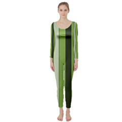 Greenery Stripes Pattern 8000 Vertical Stripe Shades Of Spring Green Color Long Sleeve Catsuit