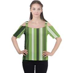 Greenery Stripes Pattern 8000 Vertical Stripe Shades Of Spring Green Color Women s Cutout Shoulder Tee