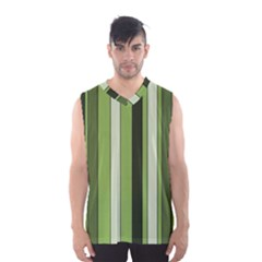 Greenery Stripes Pattern 8000 Vertical Stripe Shades Of Spring Green Color Men s Basketball Tank Top
