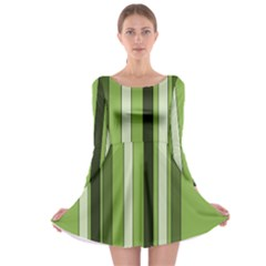 Greenery Stripes Pattern 8000 Vertical Stripe Shades Of Spring Green Color Long Sleeve Skater Dress