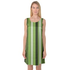 Greenery Stripes Pattern 8000 Vertical Stripe Shades Of Spring Green Color Sleeveless Satin Nightdress