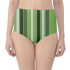 Greenery Stripes Pattern 8000 Vertical Stripe Shades Of Spring Green Color High-Waist Bikini Bottoms