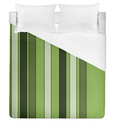 Greenery Stripes Pattern 8000 Vertical Stripe Shades Of Spring Green Color Duvet Cover (Queen Size)