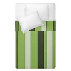 Greenery Stripes Pattern 8000 Vertical Stripe Shades Of Spring Green Color Duvet Cover Double Side (Single Size)