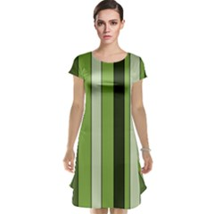 Greenery Stripes Pattern 8000 Vertical Stripe Shades Of Spring Green Color Cap Sleeve Nightdress