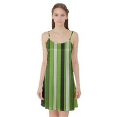 Greenery Stripes Pattern 8000 Vertical Stripe Shades Of Spring Green Color Satin Night Slip