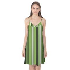 Greenery Stripes Pattern 8000 Vertical Stripe Shades Of Spring Green Color Camis Nightgown