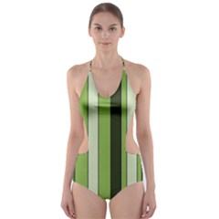 Greenery Stripes Pattern 8000 Vertical Stripe Shades Of Spring Green Color Cut-Out One Piece Swimsuit