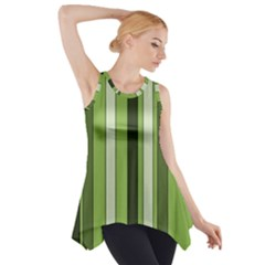 Greenery Stripes Pattern 8000 Vertical Stripe Shades Of Spring Green Color Side Drop Tank Tunic