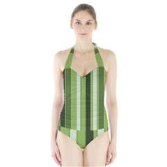 Greenery Stripes Pattern 8000 Vertical Stripe Shades Of Spring Green Color Halter Swimsuit