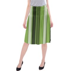 Greenery Stripes Pattern 8000 Vertical Stripe Shades Of Spring Green Color Midi Beach Skirt