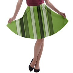 Greenery Stripes Pattern 8000 Vertical Stripe Shades Of Spring Green Color A-line Skater Skirt