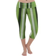 Greenery Stripes Pattern 8000 Vertical Stripe Shades Of Spring Green Color Capri Yoga Leggings