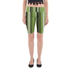 Greenery Stripes Pattern 8000 Vertical Stripe Shades Of Spring Green Color Yoga Cropped Leggings