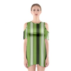 Greenery Stripes Pattern 8000 Vertical Stripe Shades Of Spring Green Color Shoulder Cutout One Piece