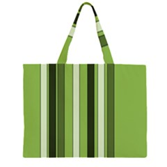 Greenery Stripes Pattern 8000 Vertical Stripe Shades Of Spring Green Color Zipper Large Tote Bag