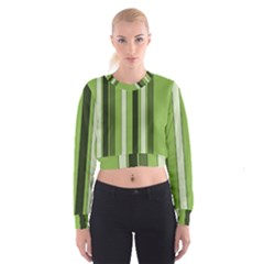 Greenery Stripes Pattern 8000 Vertical Stripe Shades Of Spring Green Color Women s Cropped Sweatshirt
