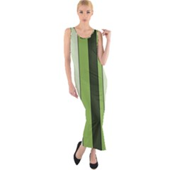 Greenery Stripes Pattern 8000 Vertical Stripe Shades Of Spring Green Color Fitted Maxi Dress