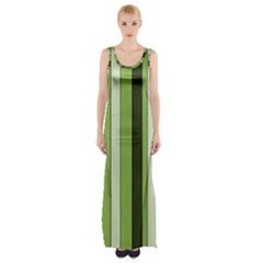 Greenery Stripes Pattern 8000 Vertical Stripe Shades Of Spring Green Color Maxi Thigh Split Dress