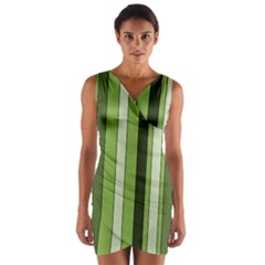 Greenery Stripes Pattern 8000 Vertical Stripe Shades Of Spring Green Color Wrap Front Bodycon Dress