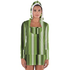 Greenery Stripes Pattern 8000 Vertical Stripe Shades Of Spring Green Color Women s Long Sleeve Hooded T-shirt
