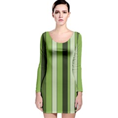 Greenery Stripes Pattern 8000 Vertical Stripe Shades Of Spring Green Color Long Sleeve Velvet Bodycon Dress