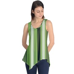 Greenery Stripes Pattern 8000 Vertical Stripe Shades Of Spring Green Color Sleeveless Tunic