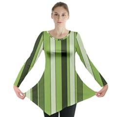 Greenery Stripes Pattern 8000 Vertical Stripe Shades Of Spring Green Color Long Sleeve Tunic