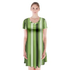 Greenery Stripes Pattern 8000 Vertical Stripe Shades Of Spring Green Color Short Sleeve V-neck Flare Dress