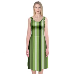 Greenery Stripes Pattern 8000 Vertical Stripe Shades Of Spring Green Color Midi Sleeveless Dress